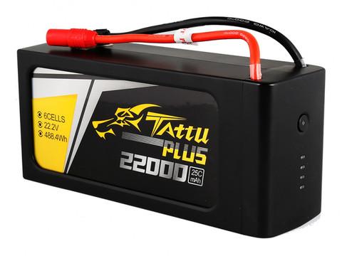 Gens Tattu Plus 22000mAh 22.2V 25C 6S1P Lipo Smart Battery Pack with AS150+XT150 Plug