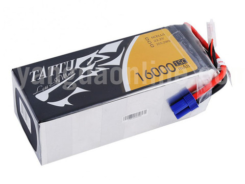 Gens Tattu 16000mAh 15C 6S1P Lipo Battery Pack With EC5 Plug