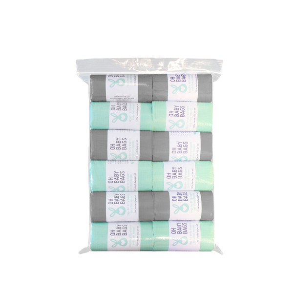 12 rolls of tie handle disposable dirty diaper bags