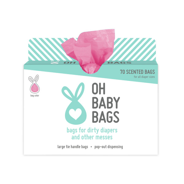 70 bag pop out box with scented pink tie handle bags