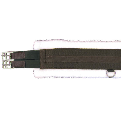 Fleece Lined Girth with Double End Elastic - Brown