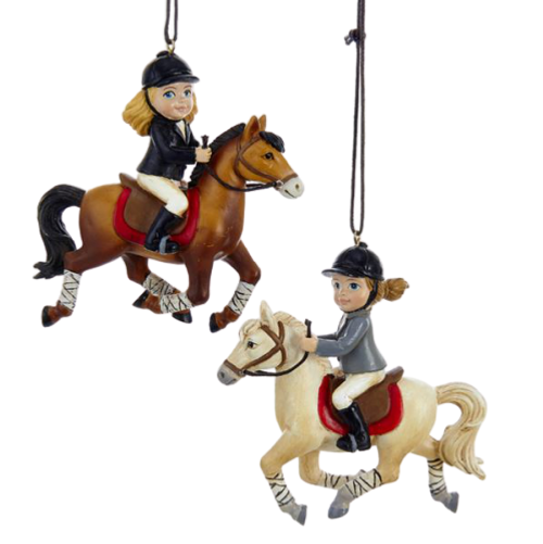 Horse Girl Ornaments - Set of 2