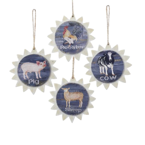 Sunburst Farm Animal Ornaments - Set of 4