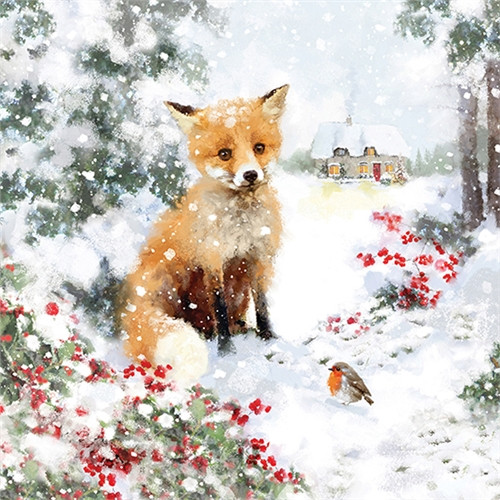 10 Pack Charity Cards - Festive Fox
