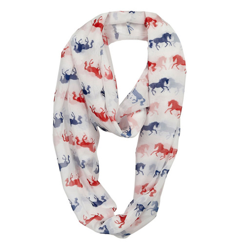 """""""Lila"""" Infinity Scarf - White/Red/Blue Horses"""