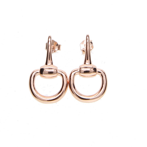 Silver Plated Snaffle Earrings - Rose Gold