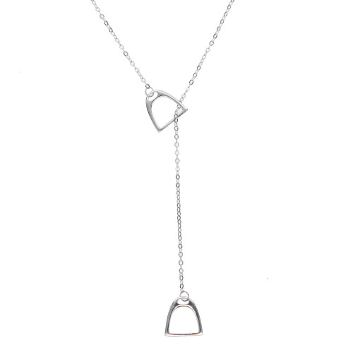 Sterling Silver Stirrup Lariat Necklace