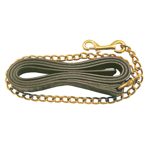 Leather Lead Shank with Brass Plated Chain