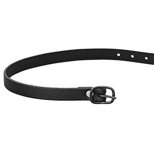Black Leather Spur Straps 45 cm - Black Buckle