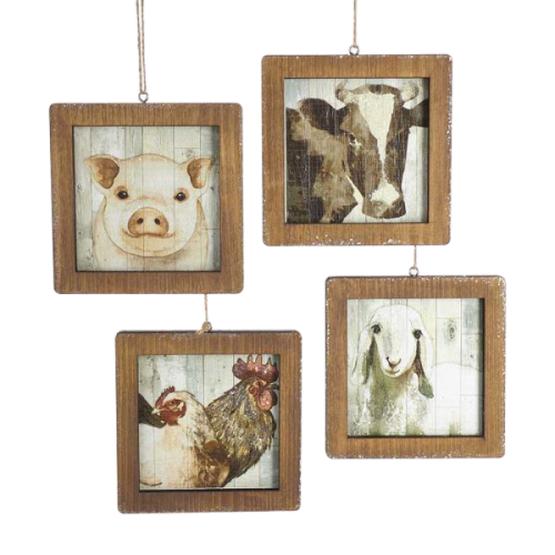 Wooden Frame Farm Animals Ornaments - Set of 4