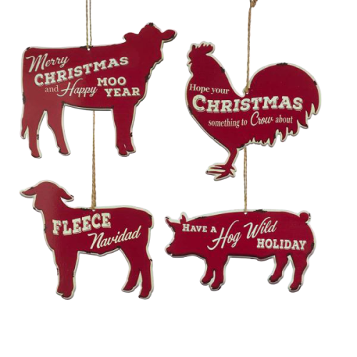 Metal Farm Animals Ornaments - Set of 4