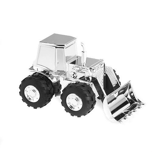 Silver Plated Tractor Money Bank