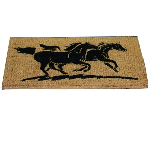 Coir Door Mat - Two Horses