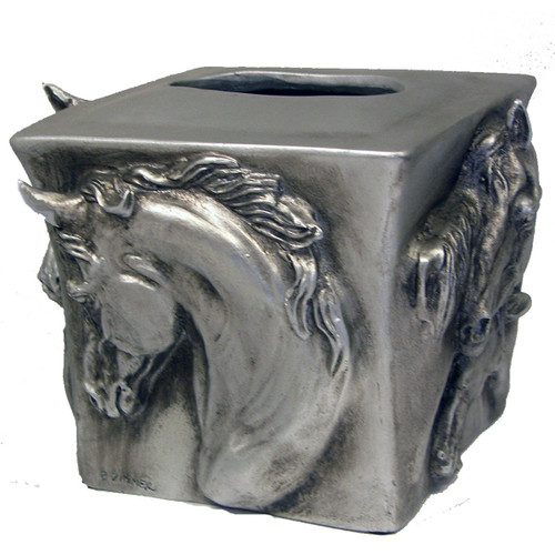 Metal Horse Tissue Box Cover