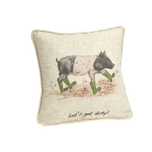 """Linen Mix Cushion 12"""" x 12"""" - Let's Get Dirty!"""