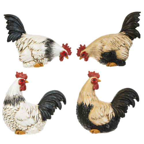 Rooster Figurines - Set of 4