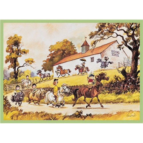 Thelwell Greeting Card - Riding School