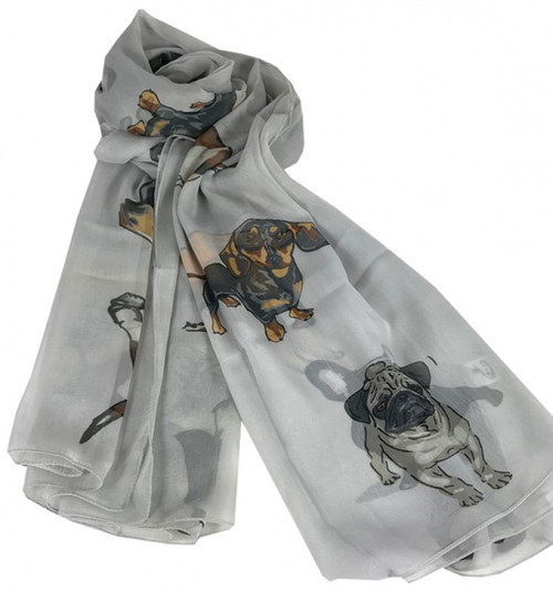 Chiffon Scarf - Light Grey Dogs