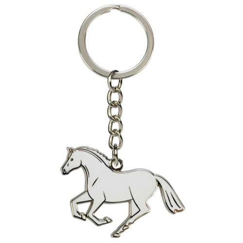 Silver Cantering Horse Keychain