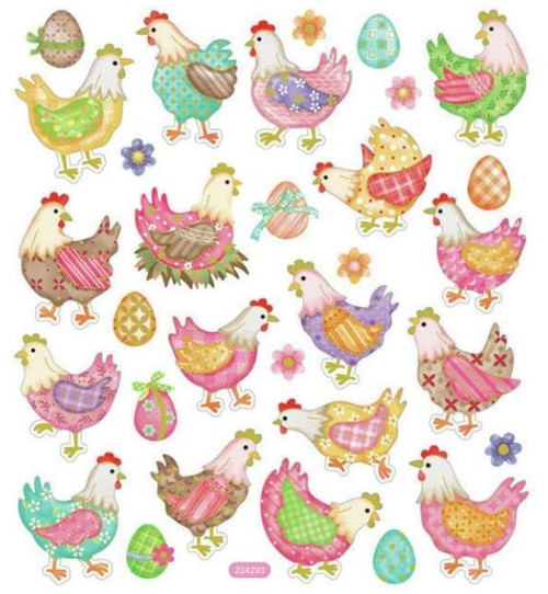 Chickens in Plaid Stickers