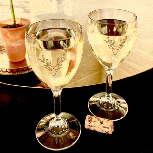 Polycarbonate Stag Wine Glasses - Pair