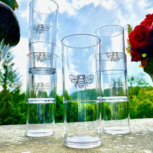 Polycarbonate Bee Highball Glasses - Set of 6