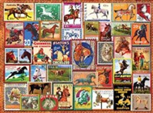 1000-Piece Jigsaw Puzzle - Vintage Equestrian Stamp Posters