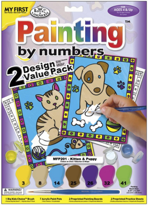 My First Paint By Number Kit - Kitten & Puppy