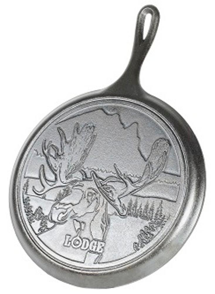 "10.5"" Moose Wildlife Stamped Cast Iron  Griddle"