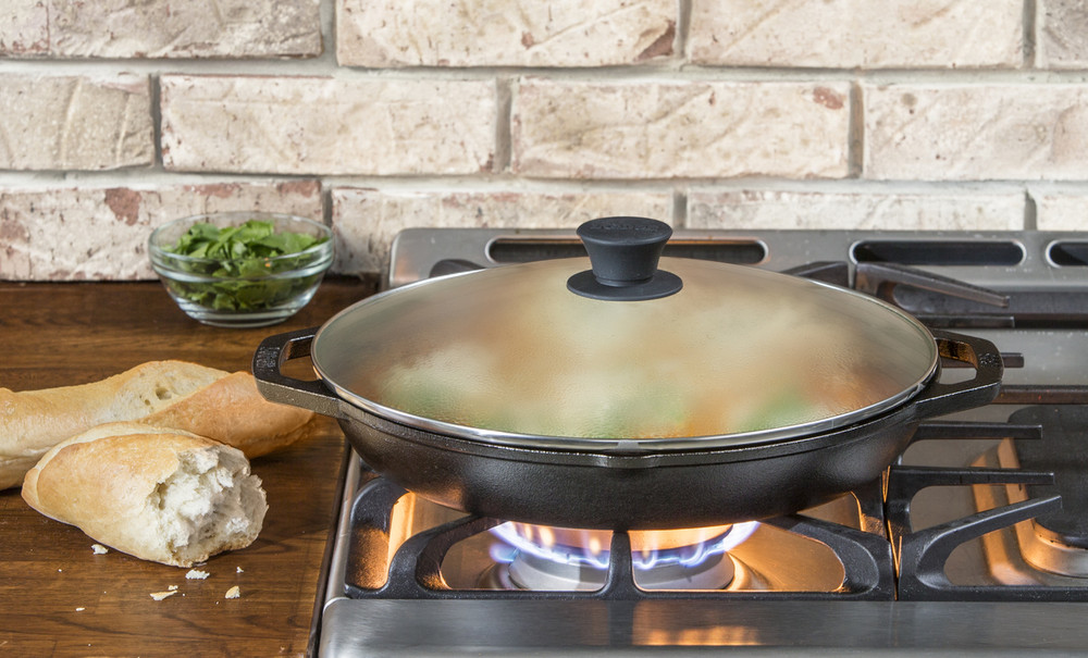12 Inch Cast Iron everyday Pan With Glass Lid