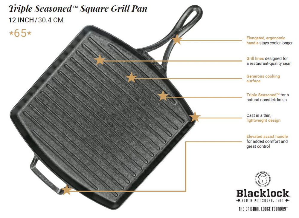 Triple Seasoned Cast Iron 12 Inch Square Grill Pan