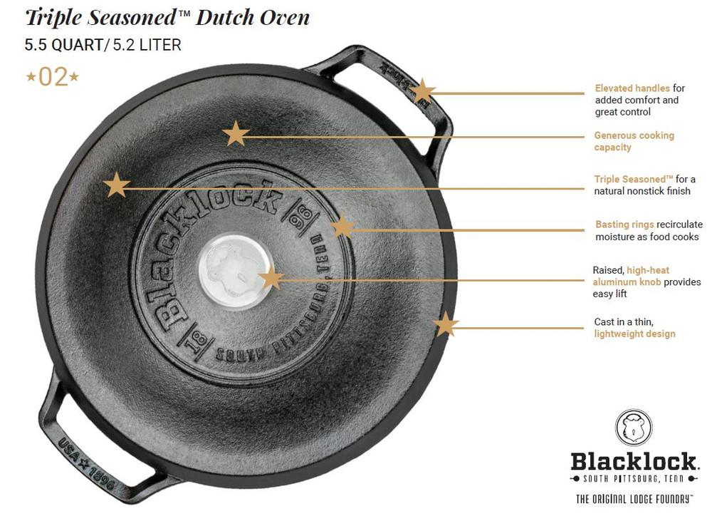 Triple Seasoned Cast Iron 5.5 Quart Dutch Oven