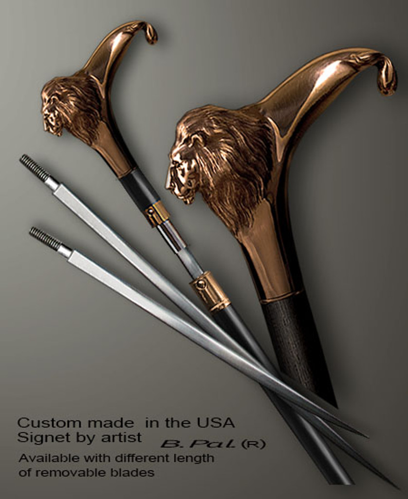 Bronze custom made walking stick Lion in sword cane version. Some regional laws prohibit the use of sword canes. That is why these sword canes are designed with removable blades. This way you can keep it as a sword cane in your collection or use it as a regular support walking cane.