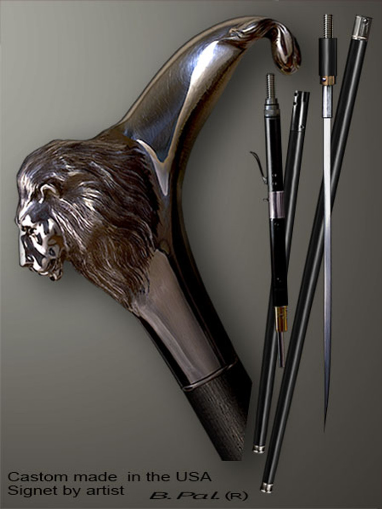 Designer walking cane Lion is created and produced in the USA. Custom walking sticks handle is cast from sterling silver and mounted on the ebony or rosewood shaft. Custom version can be finished with natural gems. Somebody using a walking stick might want not only physical support, but also some level of collectible or self-defense value. That is why a support walking canes can be done as a sword cane or cane gun. In this case high quality knife or air gun shooting mechanism will be built into the shaft as shown on the picture.
