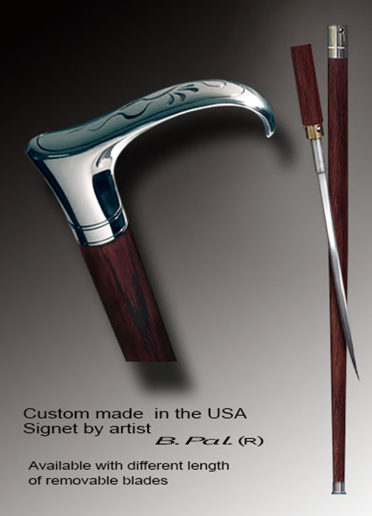 Custom made walking cane Flying snake is created and produced in the USA. Exclusive walking sticks handle is cast from sterling silver and mounted on the  rosewood shaft. Somebody using a walking stick might want not only physical support, but also some level of collectible or self-defense value. That is why a support walking canes can be done as a sword cane. In this case high quality knife will be built into the shaft as shown on the picture.
