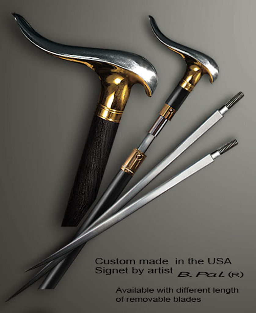 """Sterling silver with gold trim custom made walking stick Snail in sword cane version. Some regional laws prohibit the use of sword canes. That is why these sword canes are designed with removable blades. A sword canes tight opening telescopic mechanism provides the ability to load the cane as a regular support walking cane with or without the blade installed. The sword cane can be completed with 12"""" or 16"""" blade by customer request."""