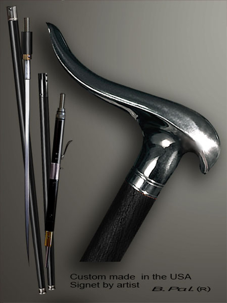 Handmade walking cane Snail is created and produced in the USA. Somebody using a walking stick might want not only physical support, but also some level of collectible or self-defense value. That is why a support walking canes can be done as a sword cane or cane gun. In this case high quality knife or air gun shooting mechanism will be built into the shaft as shown on the picture. Handmade walking sticks handle is cast from sterling silver or bronze and mounted on the ebony or rosewood shaft. Custom version can be finished with 24K Gold trim and natural gems.
