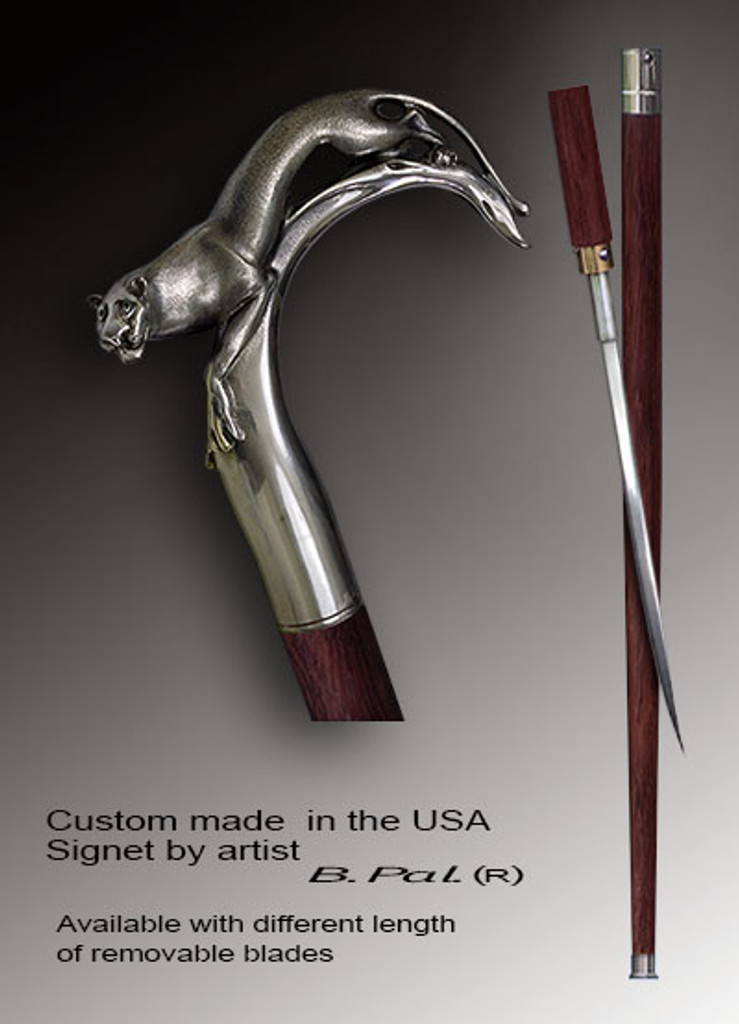 Walking cane Cougar is created and produced in the USA. Walking sticks handle is cast from sterling silver and mounted on the ebony or rosewood shaft. Custom version can be finished with 24K Gold trim and natural gems. Somebody using a walking stick might want not only physical support, but also some level of collectible or self-defense value. That is why a support walking canes can be done as a sword cane. In this case high quality knife will be built into the shaft as shown on the picture.