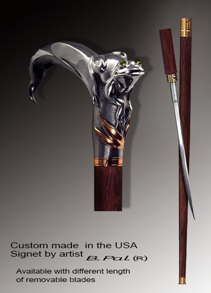 Custom walking cane Frog is created and produced in the USA. Somebody using a walking stick might want not only physical support, but also some level of collectible or self-defense value. That is why a support walking canes can be done as a sword cane. In this case high quality knife will be built into the shaft as shown on the picture. Handmade walking sticks handle is cast from sterling silver mounted on rosewood shaft.