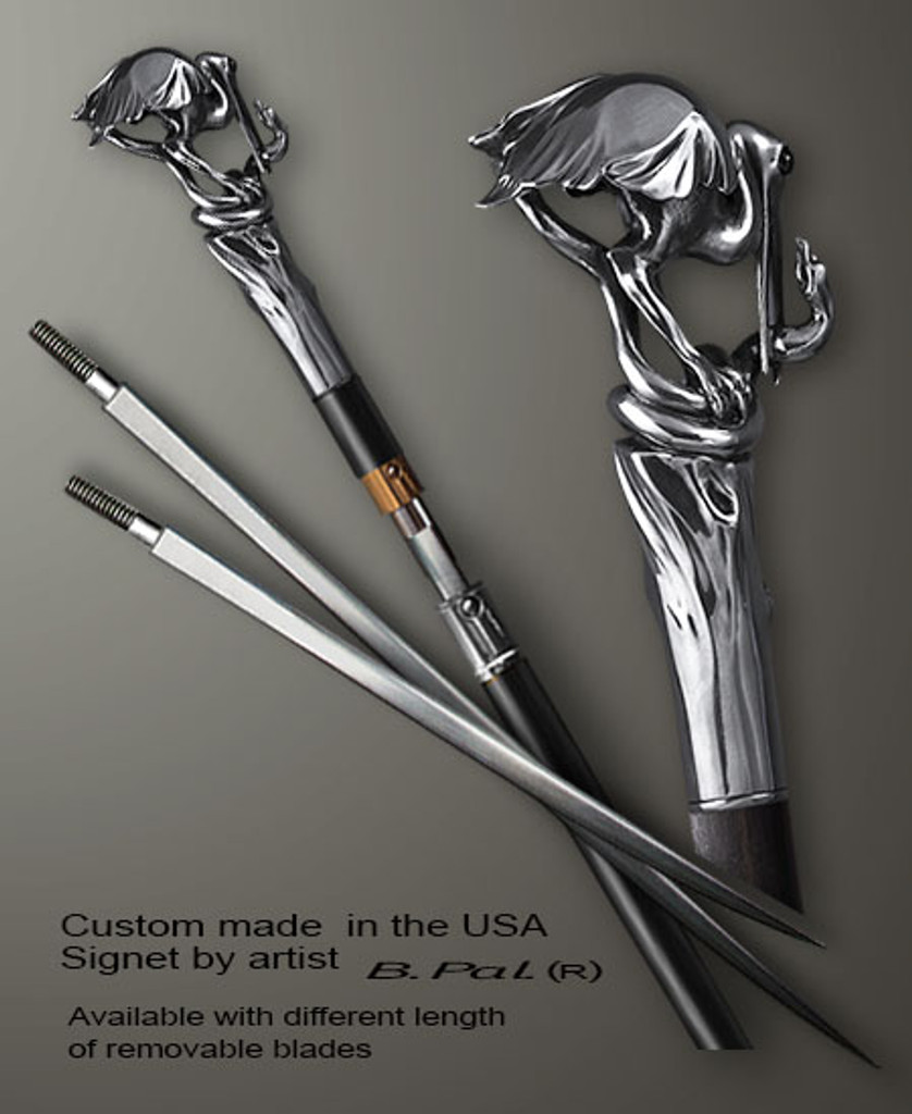 Custom made walking stick Heron and snake in sword cane version. Some regional laws prohibit the use of sword canes. That is why these sword canes are designed with removable blades. This way you can keep it as a word cane in your collection or use it as a regular support walking cane. The sword canes handle is cast from sterling silver and can be finished with 24K gold trim.