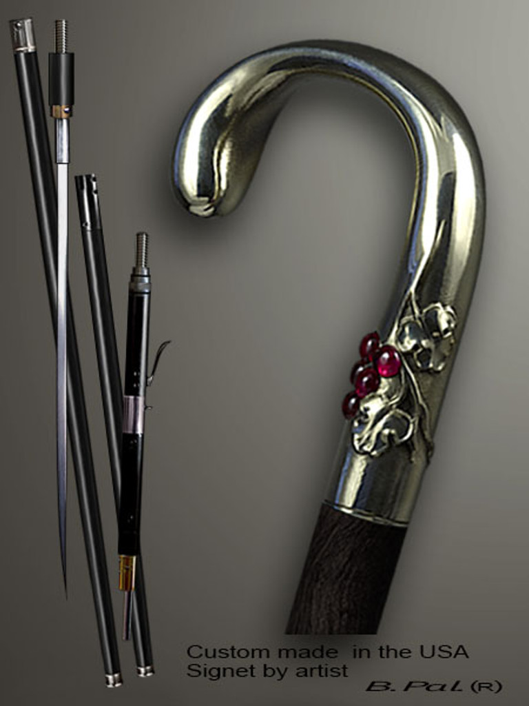 Designer walking cane Grapes is created and produced in the USA. Somebody using a walking stick might want not only physical support, but also some level of collectible or self-defense value. That is why a support walking canes can be done as a sword cane or cane gun. In this case high quality knife or air gun shooting mechanism will be built into the shaft as shown on the picture. Handmade walking sticks handle is cast from sterling silver mounted on the ebony or rosewood shaft.
