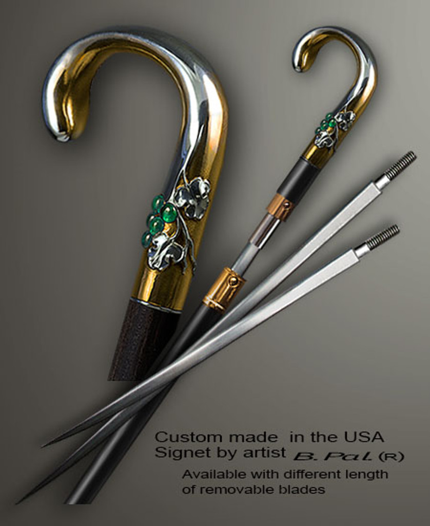 """Sterling silver with gold trim custom made walking stick Grapes sword cane version. Some regional laws prohibit the use of sword canes. That is why these sword canes are designed with removable blades. A sword canes tight opening telescopic mechanism provides the ability to load the cane as a regular support walking cane with or without the blade installed. The sword cane can be completed with 12"""" or 16"""" blade by customer request."""