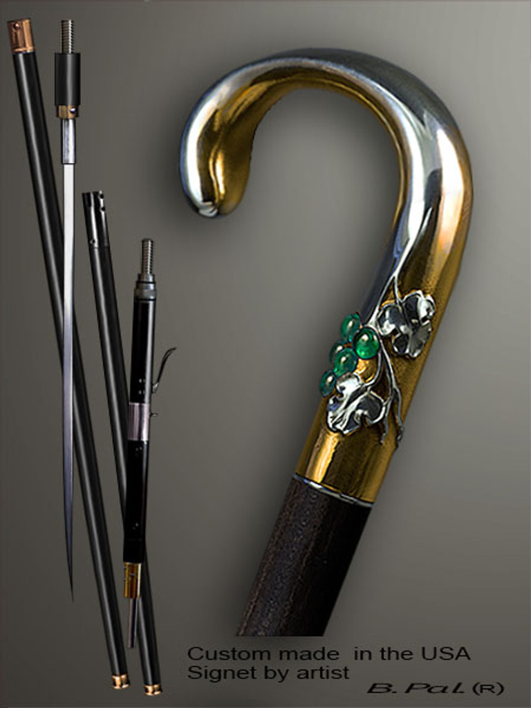 Custom walking cane Grapes is created and produced in the USA. Somebody using a walking stick might want not only physical support, but also some level of collectible or self-defense value. That is why a support walking canes can be done as a sword cane or cane gun. In this case high quality knife or air gun shooting mechanism will be built into the shaft as shown on the picture. Custom walking sticks handle is cast from sterling silver mounted on the ebony. Custom version can be finished with 24K Gold trim.