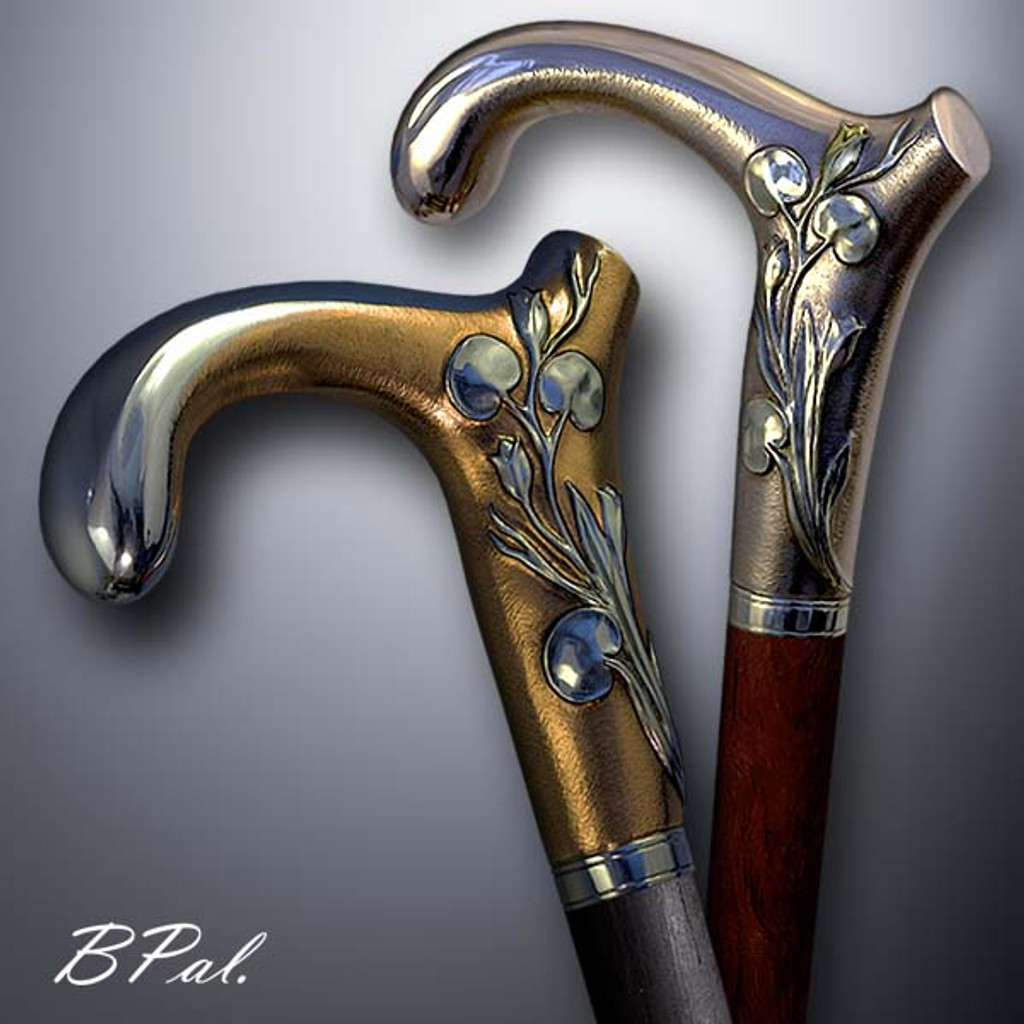 Handmade walking cane Lily design is created and produced in the USA. Custom walking canes will be made individually and signed at your request. Functional and decorative walking sticks can be requested as a beautiful anniversary gift. Somebody using a walking canes might want not only physical support, but also some level of decorative and aesthetic value that is why for many centuries walking canes have captured the attention of artists and jewelers. Nevertheless, while considering the aesthetics of the walking cane it is important to remember that the comfort, physical stability and security of the walking sticks should also be given priority.