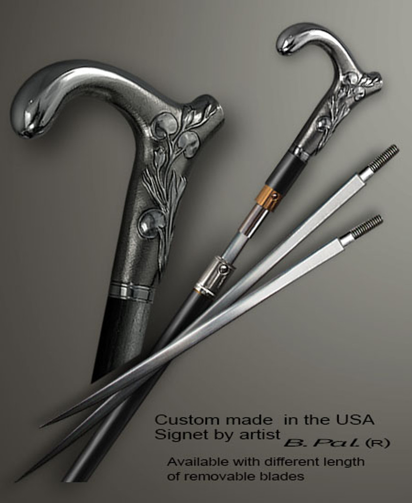Custom made walking stick Lily in sword cane version. Some regional laws prohibit the use of sword canes. That is why these sword canes are designed with removable blades. A sword canes tight opening telescopic mechanism provides the ability to load the cane as a regular support walking cane with or without the blade installed. The sword canes handle is cast from sterling silver and can be finished with 24K gold trim.