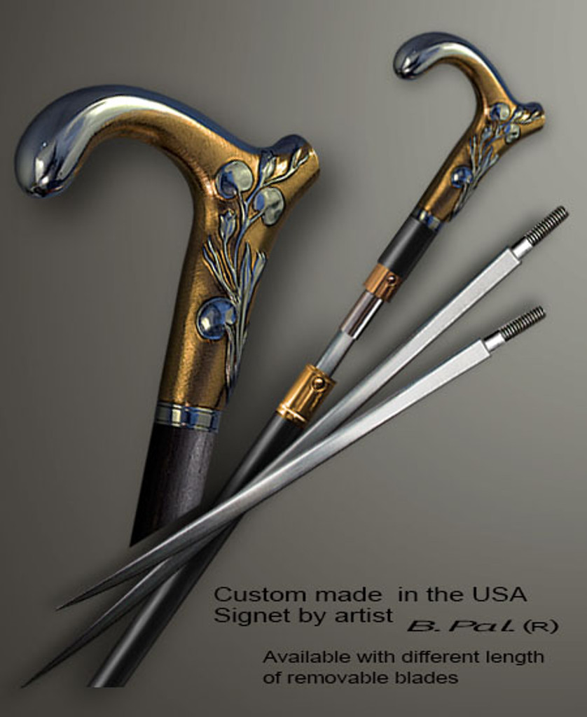 """Sterling silver with gold trim custom made walking stick Lily in sword cane version. Some regional laws prohibit the use of sword canes. That is why these sword canes are designed with removable blades. A sword canes tight opening telescopic mechanism provides the ability to load the cane as a regular support walking cane with or without the blade installed. The sword cane can be completed with 12"""" or 16"""" blade by customer request."""