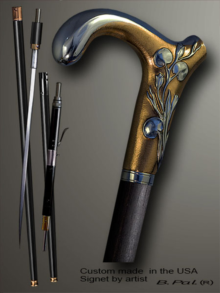 Designer walking cane Elephant is created and produced in the USA. Functional and decorative walking sticks handle is cast from sterling silver and mounted on the ebony shaft. Custom version can be finished with 24K Gold trim. Somebody using a walking stick might want not only physical support, but also some level of collectible or self-defense value. That is why a support walking canes can be done as a sword cane or cane gun. In this case high quality knife or air gun shooting mechanism will be built into the shaft as shown on the picture.