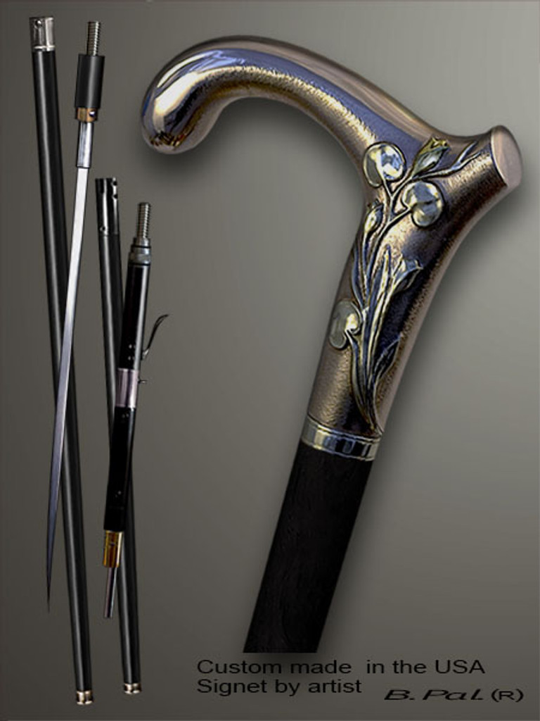 Handmade walking cane Elephant is created and produced in the USA. Artistic walking sticks handle is cast from sterling silver and mounted on the ebony or rosewood shaft. Custom version can be finished with 24K Gold trim. Somebody using a walking stick might want not only physical support, but also some level of collectible or self-defense value. That is why a support walking canes can be done as a sword cane or cane gun. In this case high quality knife or air gun shooting mechanism will be built into the shaft as shown on the picture.