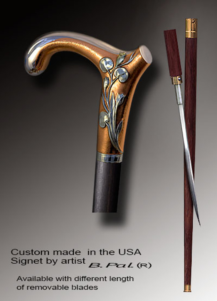 Luxury walking cane Elephant is created and produced in the USA. Artistic walking sticks handle is cast from sterling silver and mounted on the rosewood shaft. Custom version can be finished with 24K Gold trim. Somebody using a walking stick might want not only physical support, but also some level of collectible or self-defense value. That is why a support walking canes can be done as a sword cane . In this case high quality knife will be built into the shaft as shown on the picture.
