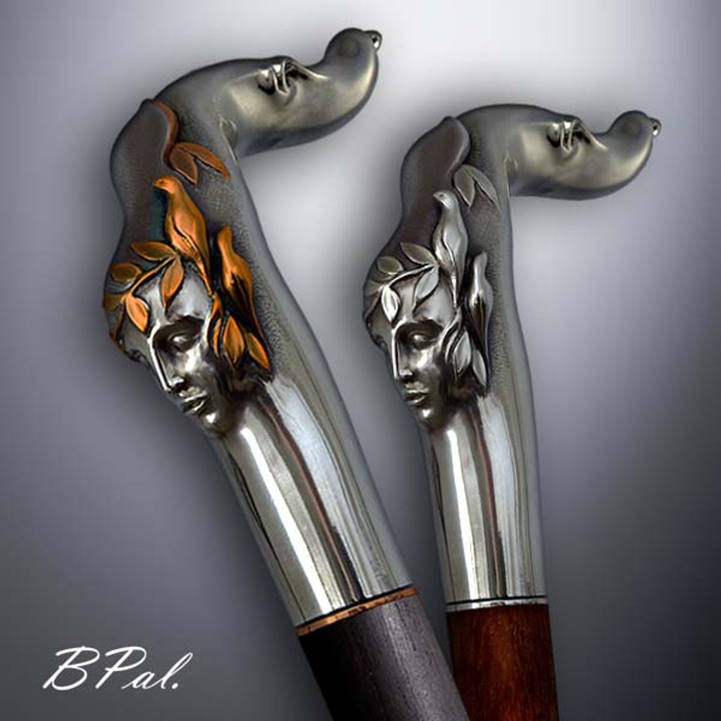Collectible walking cane Echo design is created and produced in the USA. Handmade walking canes handles are cast from Sterling silver or Bronze and mounted on an exotic wood shaft. The luxury walking canes version will be completed with 24K Gold plating trim by customer request. Somebody using a walking stick might want not only physical support, but also some level of decorative and aesthetic value. Nevertheless, while considering the aesthetics of the walking cane it is important to remember that the comfort, physical stability and security of the walking canes should also be given priority. Functional and decorative walking canes can be requested as a beautiful anniversary gift.